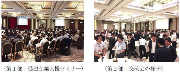 第1部:進出企業支援セミナーの写真と第2部:交流会の様子の写真