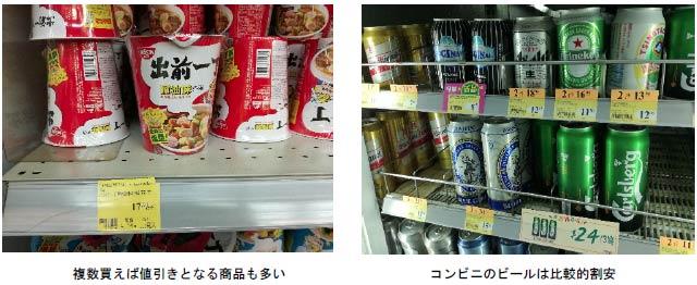 棚に置いてある出前一丁のカップ麺の写真とコンビニの冷蔵庫棚に置いてあるビール写真