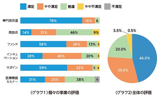 個々の事業の評価と全体の評価のグラフ画像