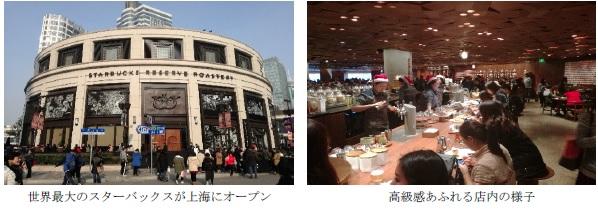世界最大のスターバックスが上海にオープンの写真と高級感あふれる店内の様子の写真