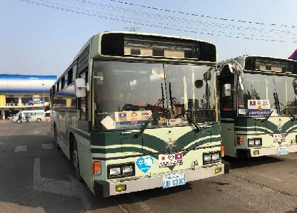 ビエンチャンで活躍している京都市バスの写真