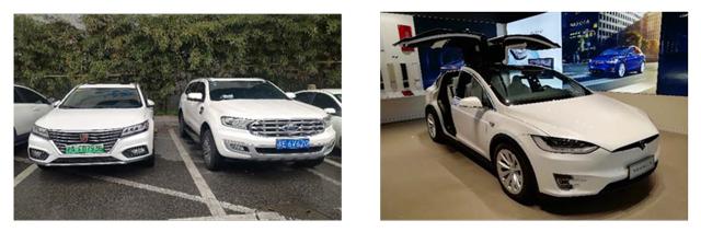 中国の自動車の画像とショッピングモールの買い物客の写真