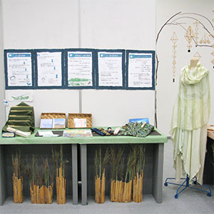 葦で染めた服や葦で作られた作品などの写真